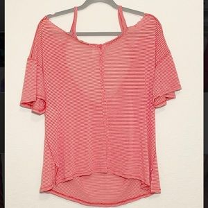 Free People NWOT red striped cold shoulder t-shirt